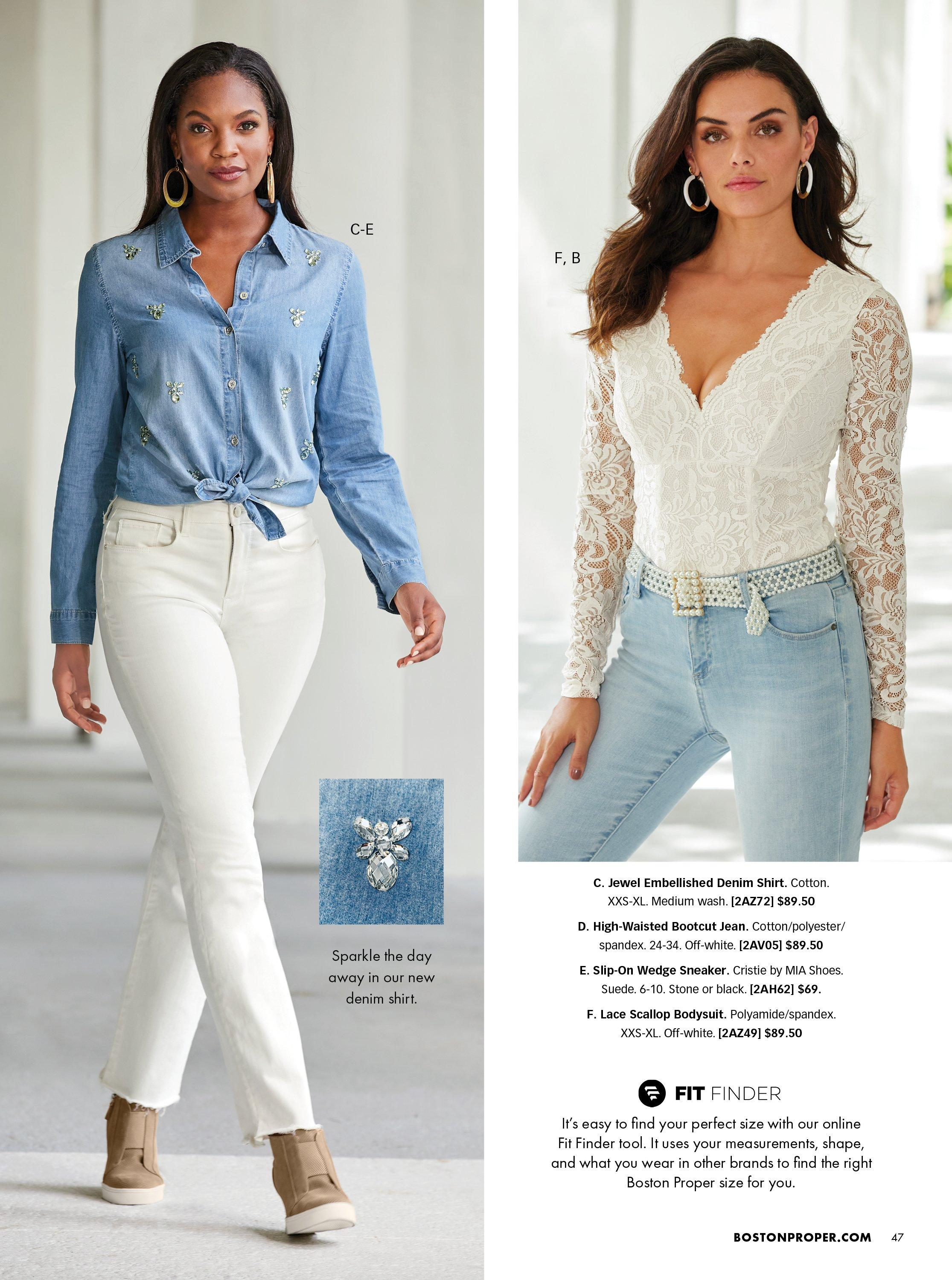 left model wearing a jewel embellished denim button-up top that is tied at the front, white jeans, and taupe sneaker wedges. right model wearing a white scallop lace long-sleeve bodysuit, pearl embellished belt, and light wash jeans.