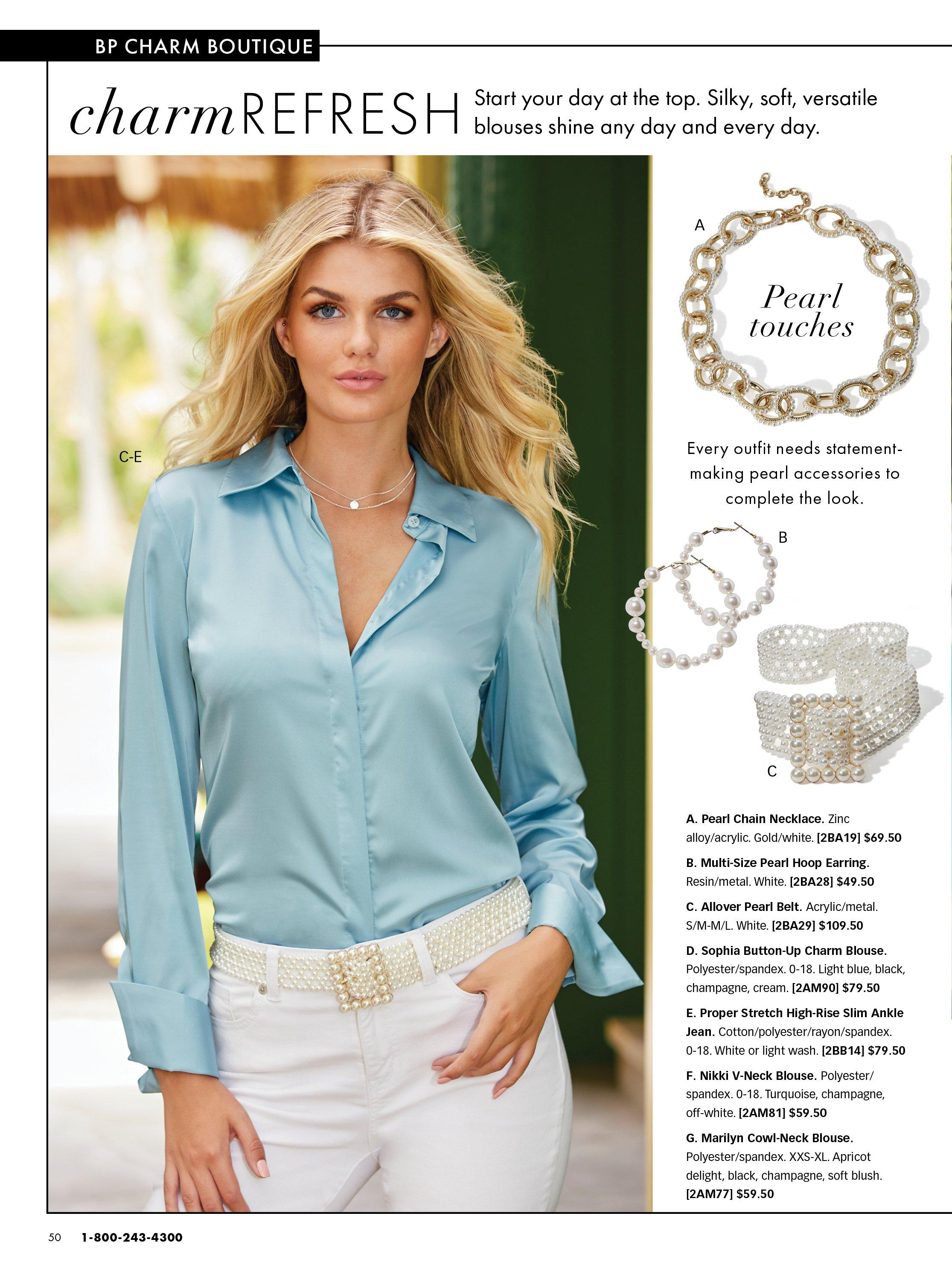 model wearing a light blue button down long-sleeve top, pearl embellished belt, and white pants. right panel shows gold chain necklace, pearl hoop earrings, and pearl embellished belt.