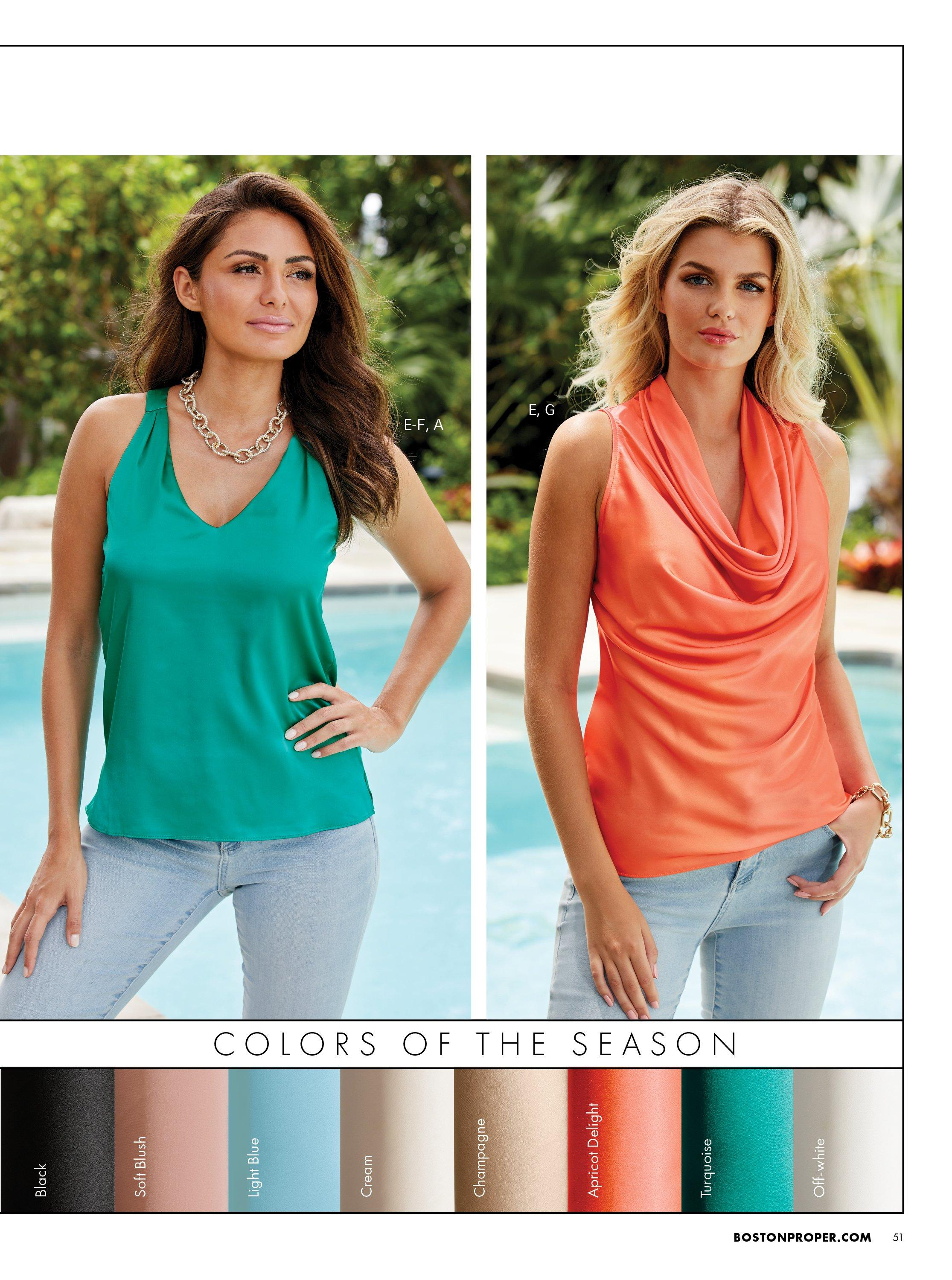left model wearing a green v-neck charm tank top and light wash jeans. right model wearing an orange cowl neck sleeveless charm top and light wash jeans.