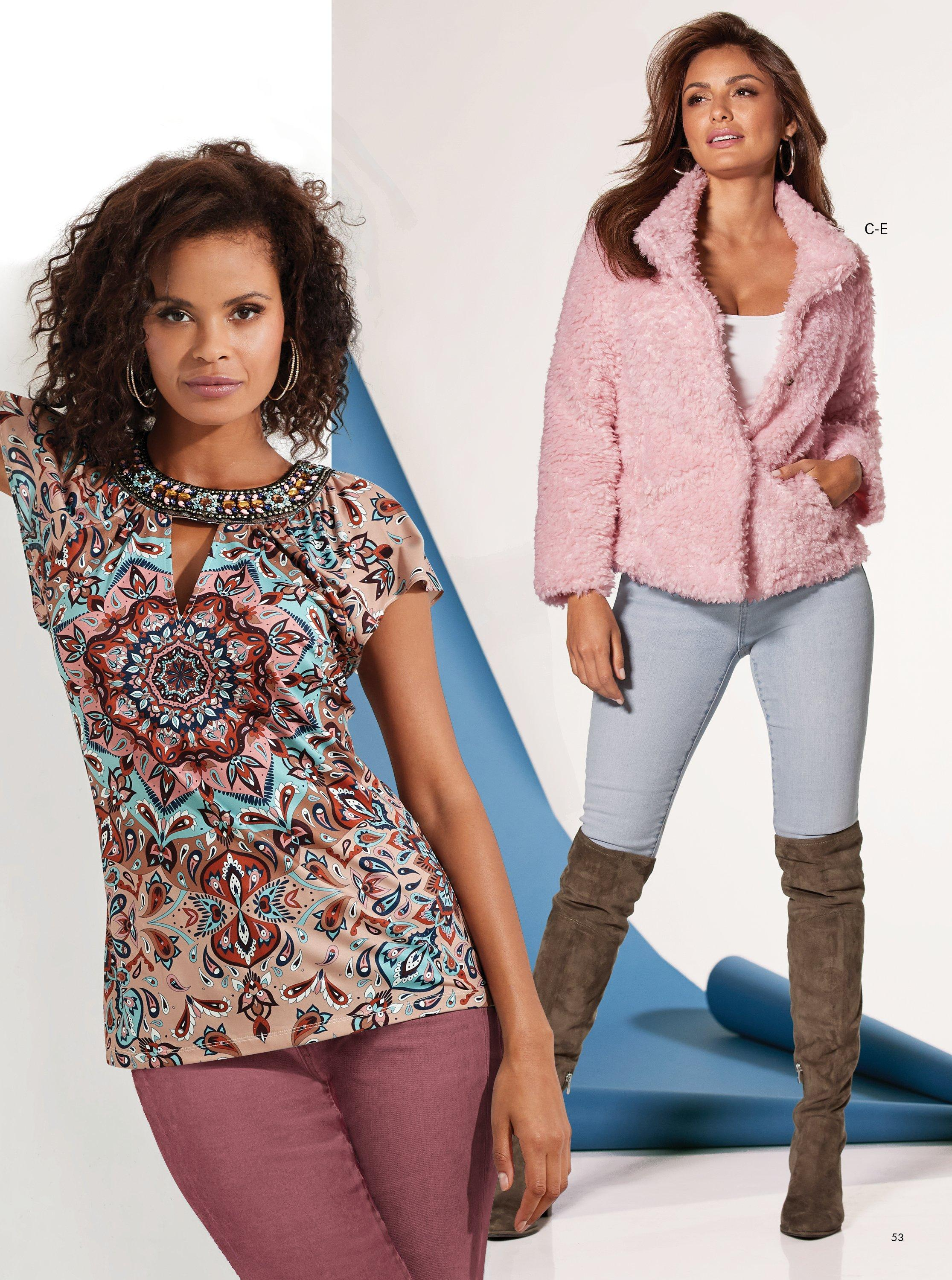 left model wearing a mixed print jewel embellished short sleeve top and dark pink velvet pants. right model wearing a short pink teddy coat, white tank top, light wash jeans, and brown over-the-knee boots.