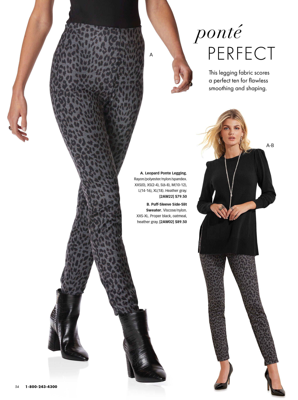 left model wearing gray leopard print leggings and black booties. right model wearing a black puff-sleeve sweater, gray leopard leggings, and black heels.