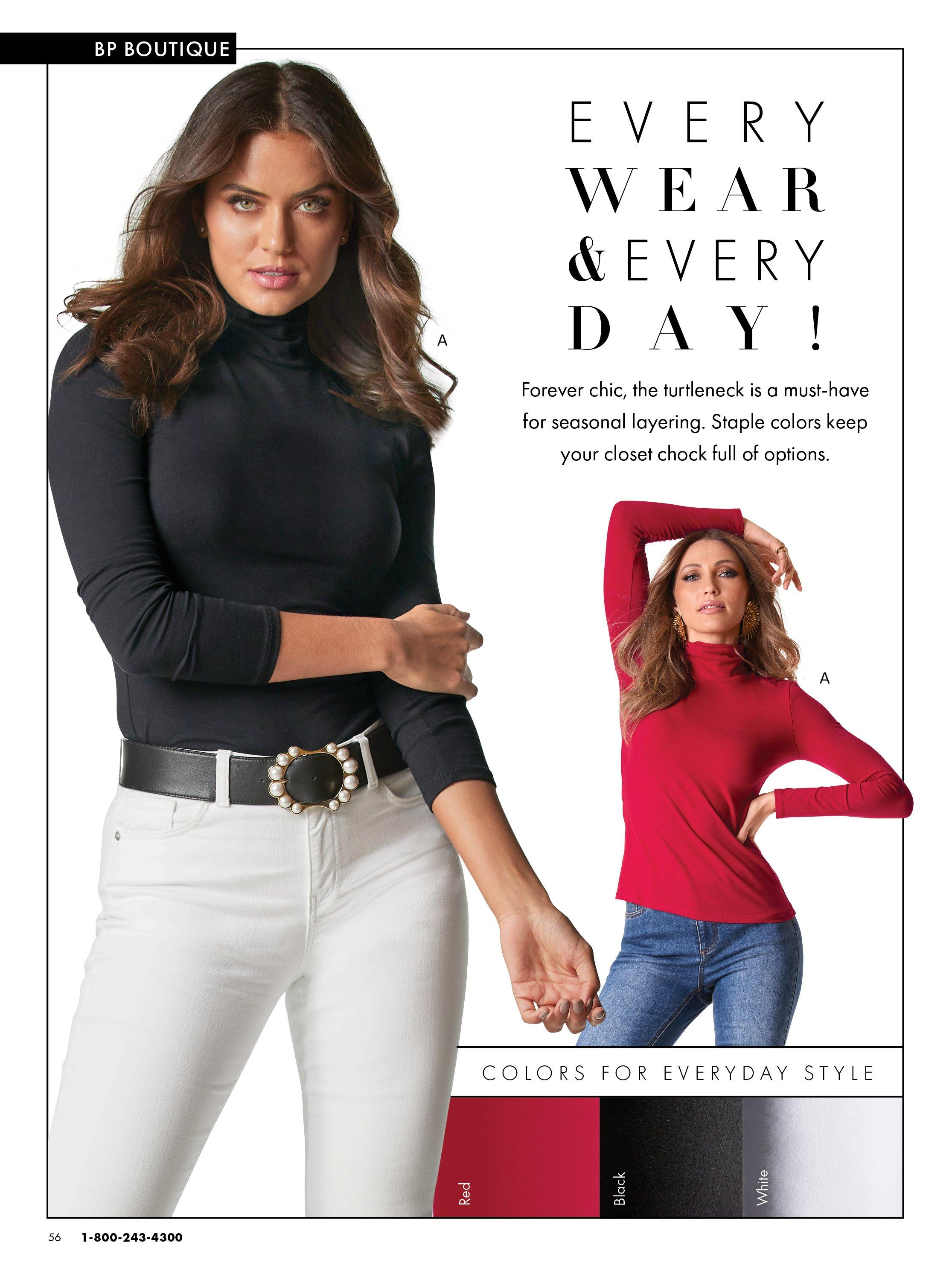 left model wearing a black long-sleeve turtleneck, black belt with pearl embellishments, and white jeans. right model wearing the same top in red and medium wash jeans.