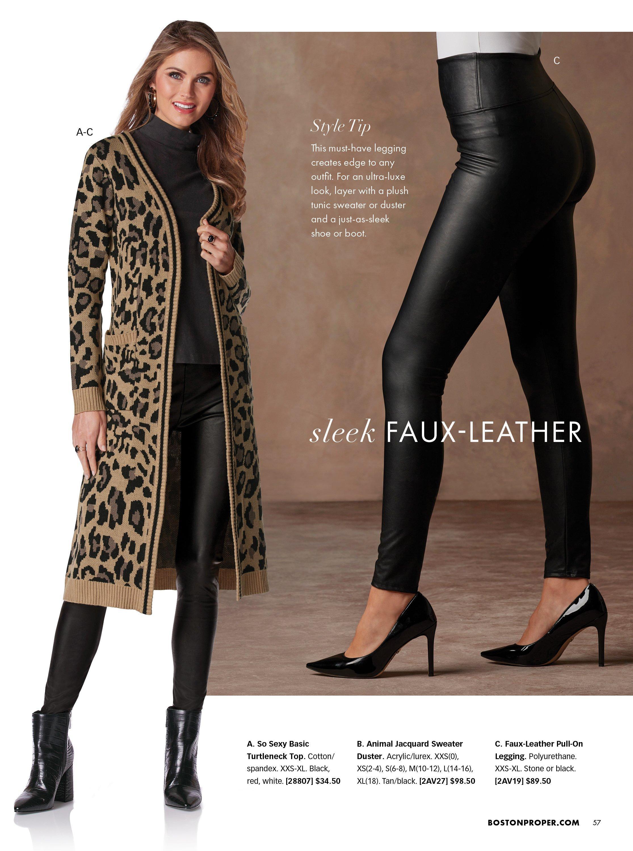 left model wearing a leopard sweater duster, black turtleneck top, black faux leather leggings, and black booties. right model wearing black faux leather leggings and black heels.