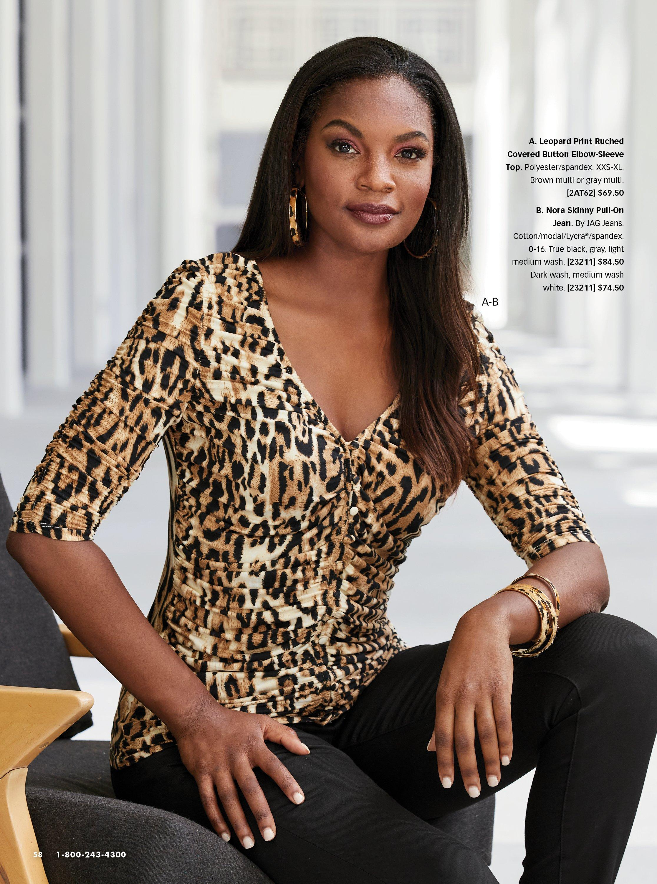 model wearing a leopard print long-sleeve ruched top and black jeans.