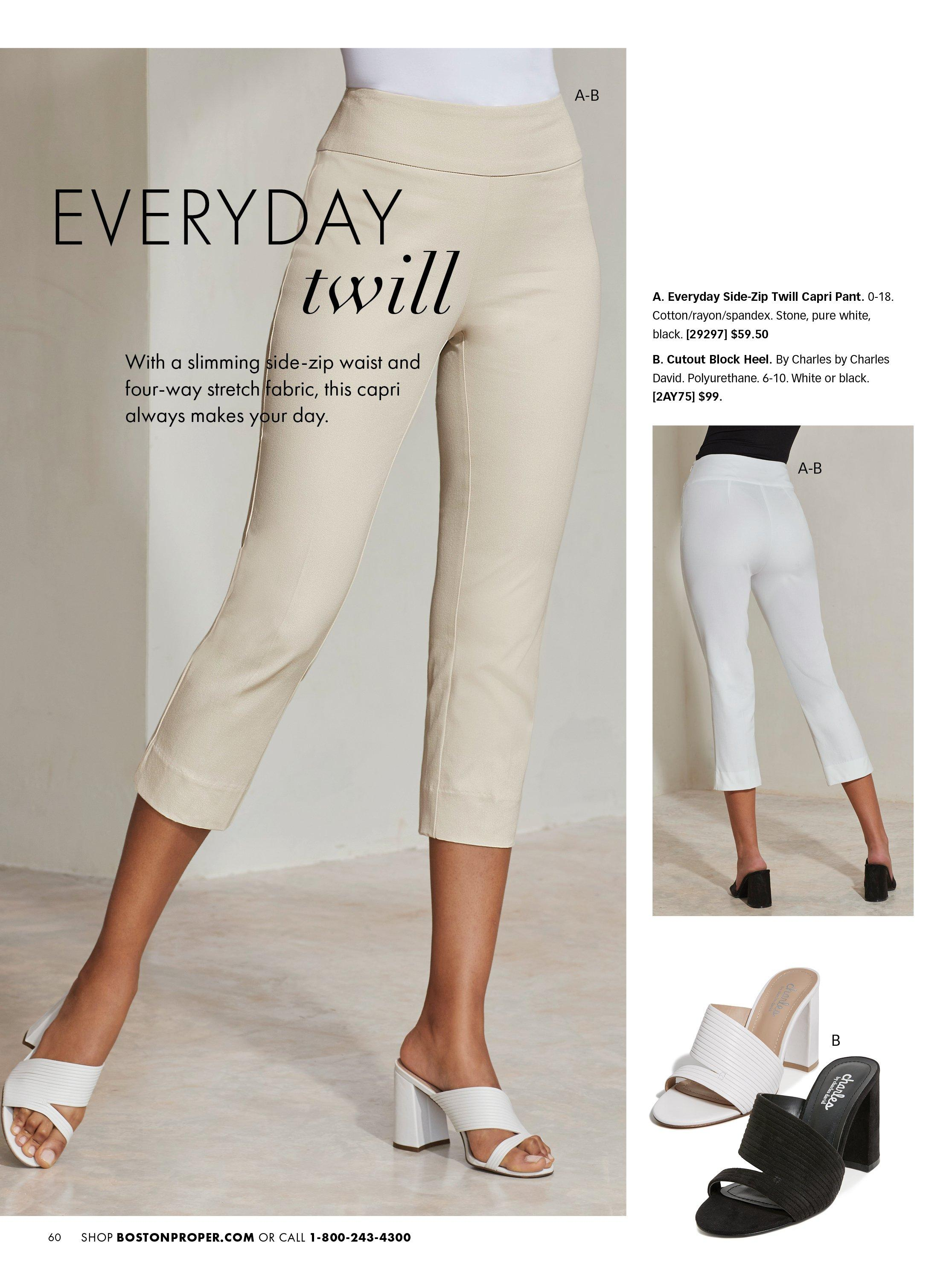 left panel shows twill crop pants in tan and white block heel slides. right panel shows the same pants in white and shoes in black. also shown: block heel slide in black and white.