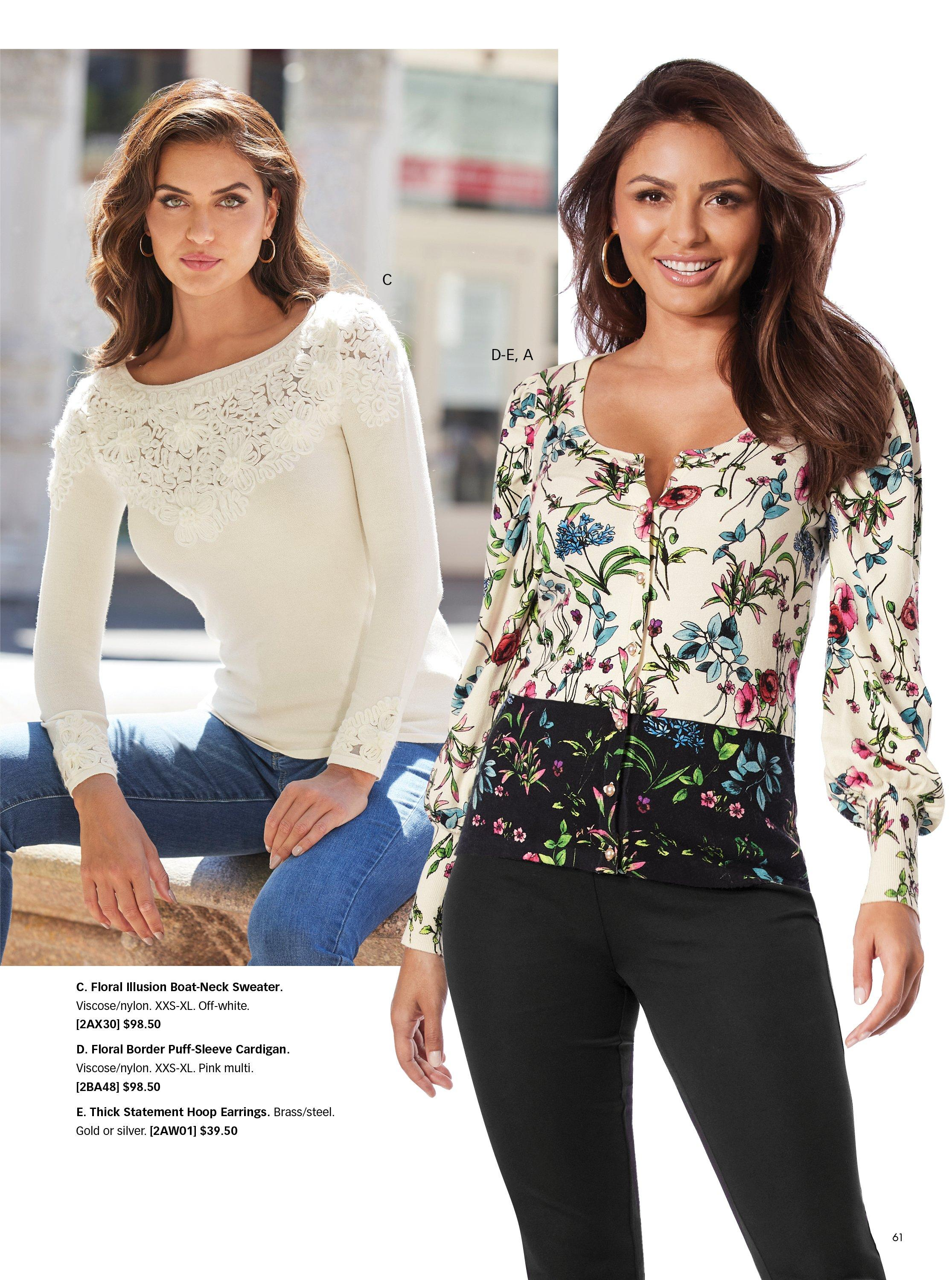 left model wearing a white lace long-sleeve top and jeans. right model wearing a floral black and white cardigan and black jeans.