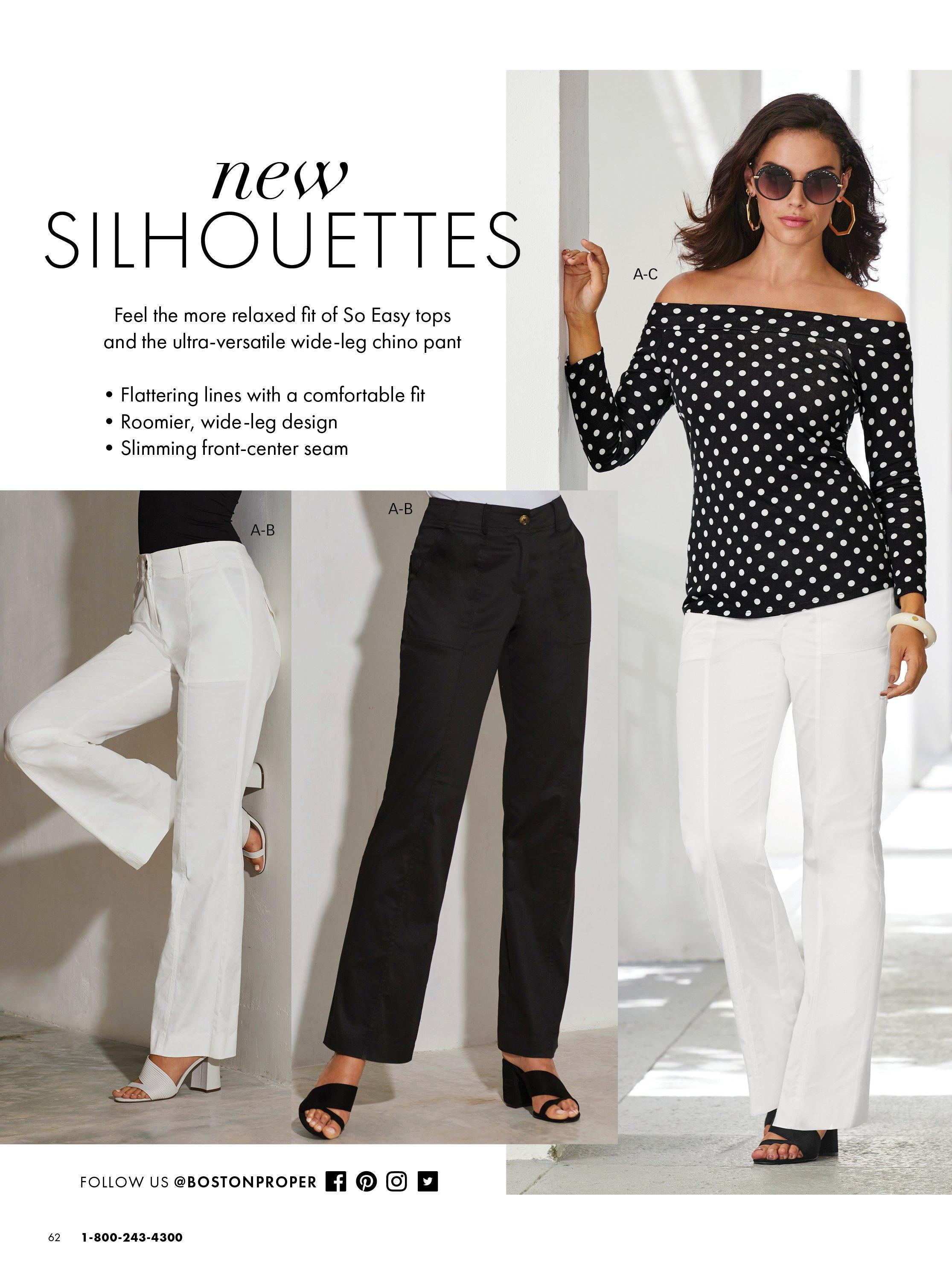 left panel showing chino pants in white and black. right model wearing a black and white polka dot off-the-shoulder long sleeve top, white chino pants, and black slides.
