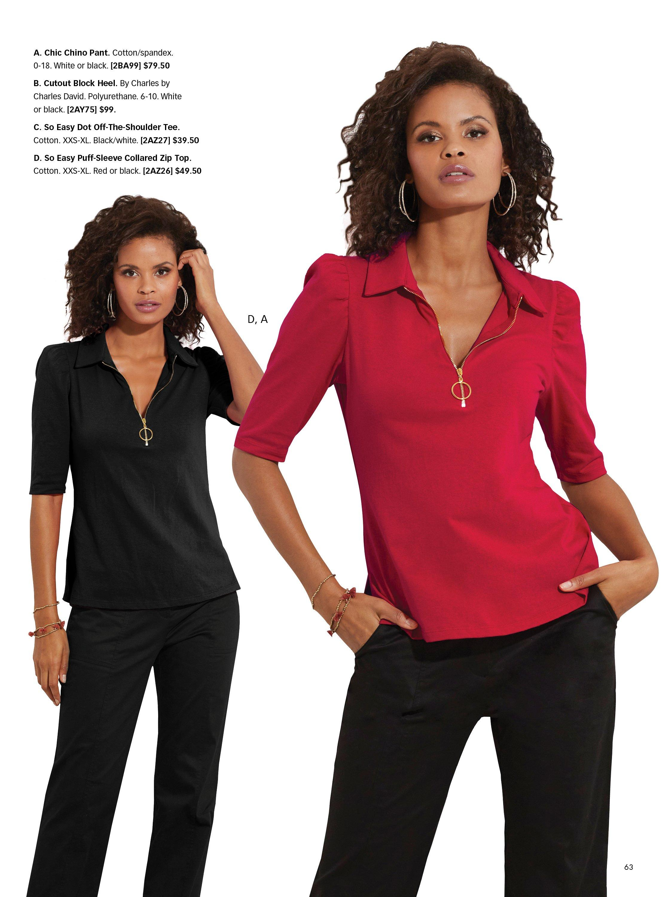 left model wearing a black collared short sleeve zippered top and black pants. right model wearing same outfit with red top.