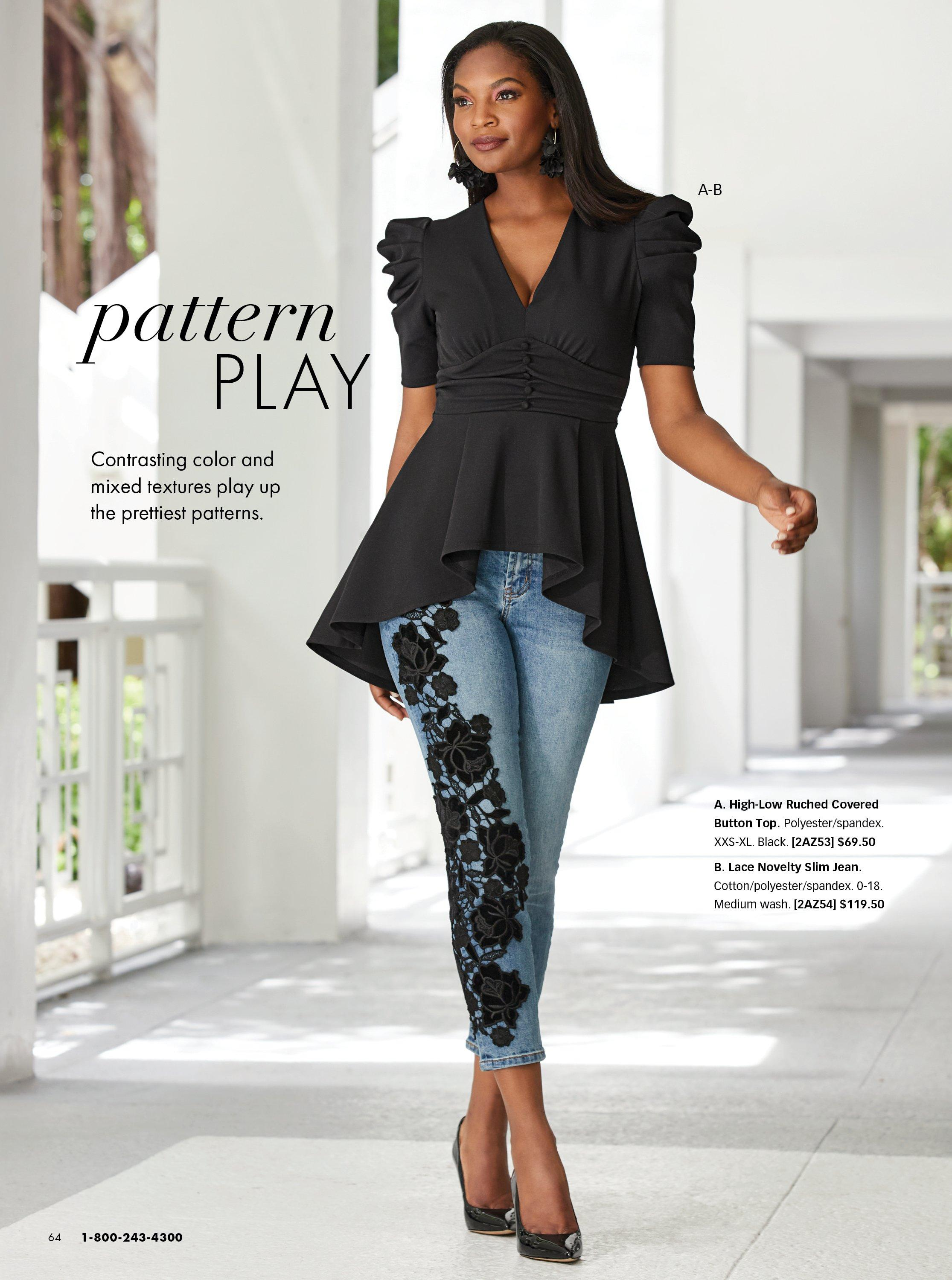model wearing a black peplum high-low puff sleeve top, jeans with black lace flower embroidery, and black pumps.