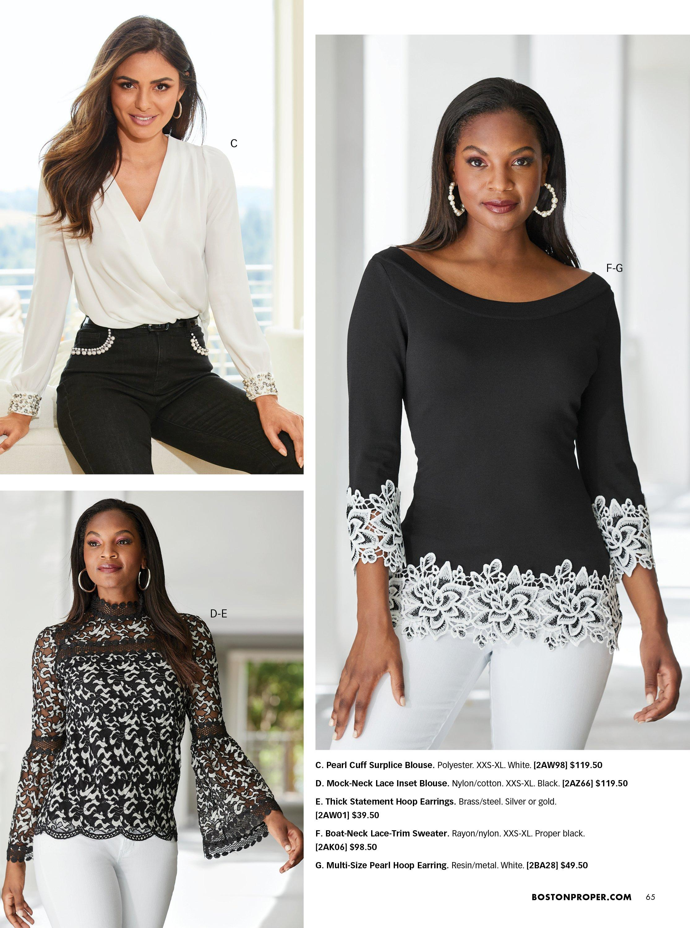 top left model wearing a white surplice top with jewel embellished cuffs and pearl embellished black jeans. bottom left model wearing a black and white lace high-neck long-sleeve flare-sleeve top and white jeans. right model wearing a black sweater with white lace trim and white jeans.