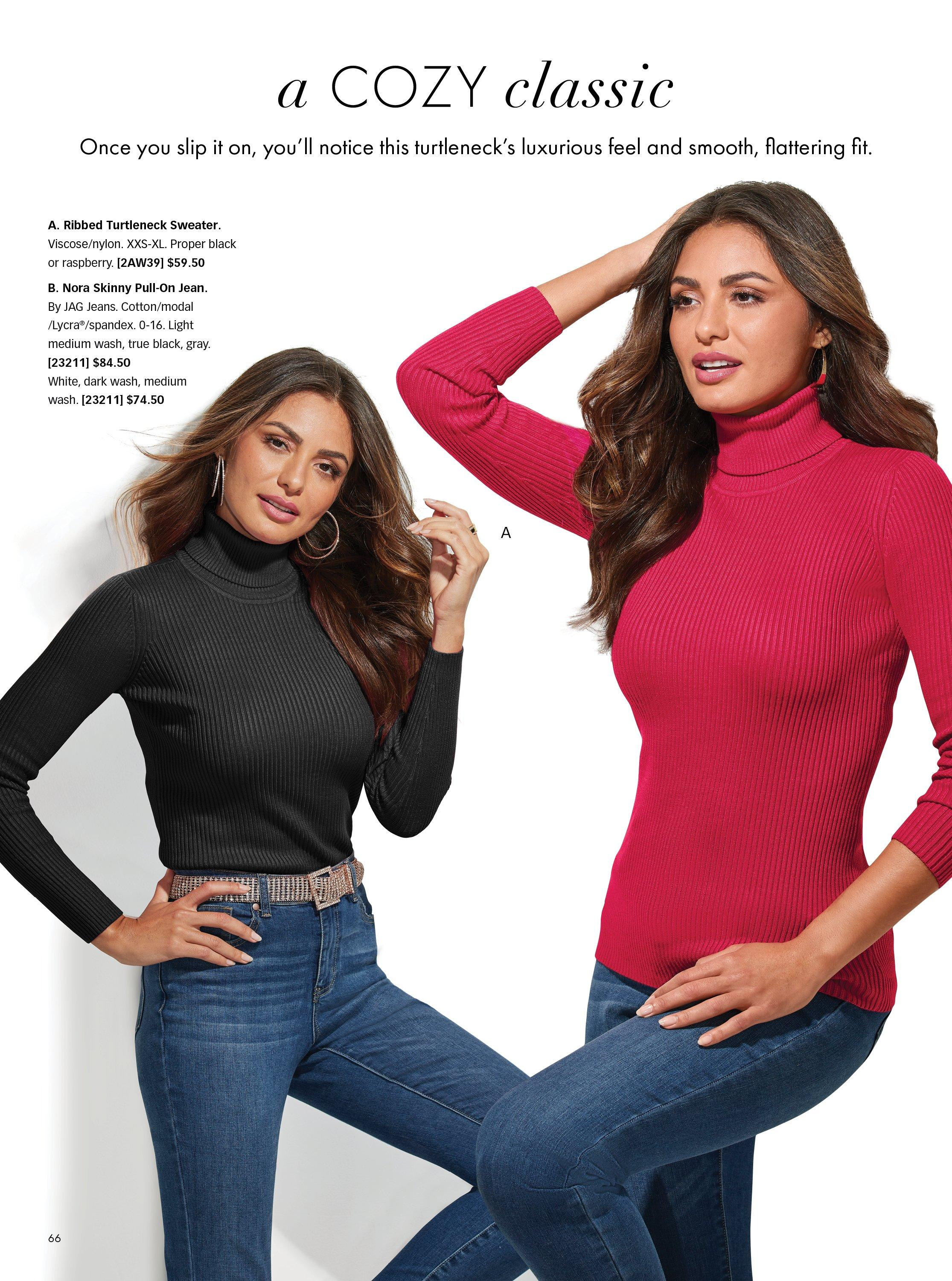 left model wearing a black long sleeve turtleneck sweater, silver belt, and jeans. right model wearing same sweater in red and jeans.