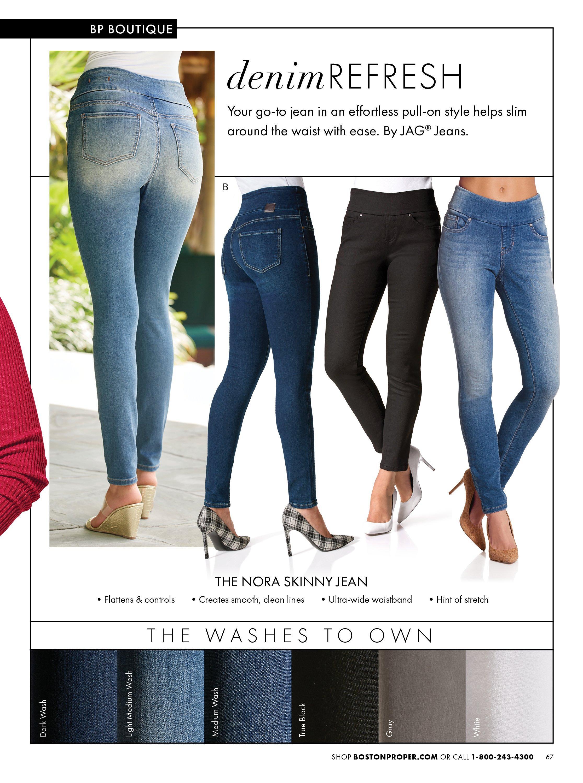 denim jeans shown in light wash, medium wash, black, and dark wash.