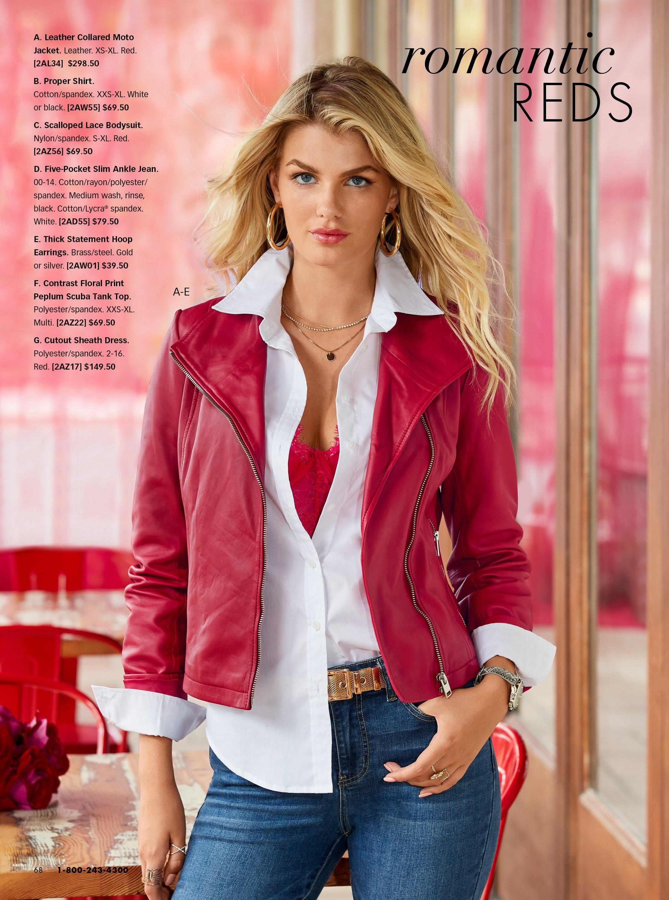 model wearing a red leather jacket, white button-up top, red lace bodysuit, and jeans.