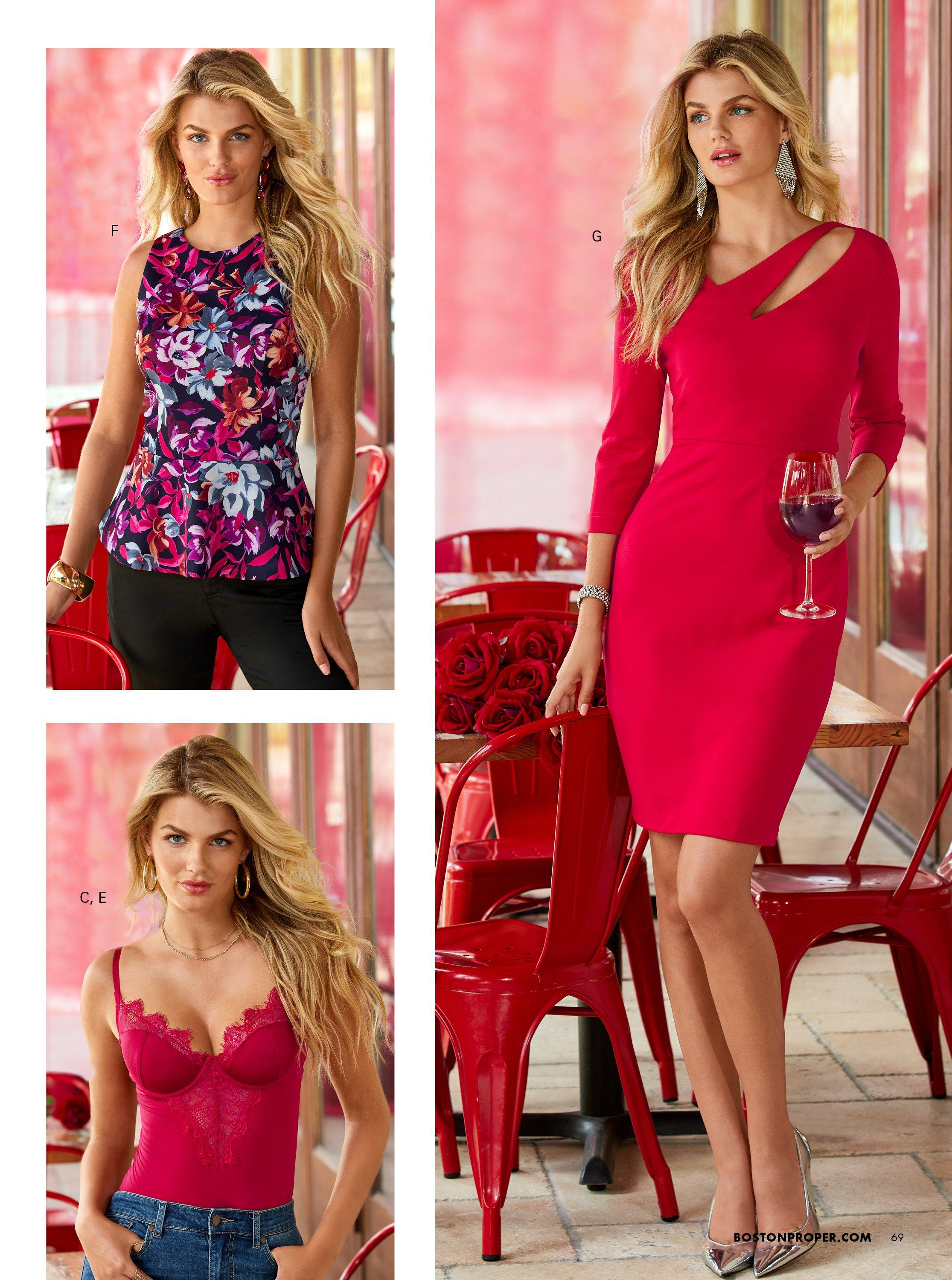top left model wearing a pink and purple floral print sleeveless top and black pants. bottom left model wearing a red scalloped lace bodysuit and jeans. right model wearing a long-sleeve red sheath dress with a cutout.
