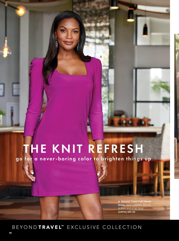 model wearing a bright purple long-sleeve square neck sheath dress.