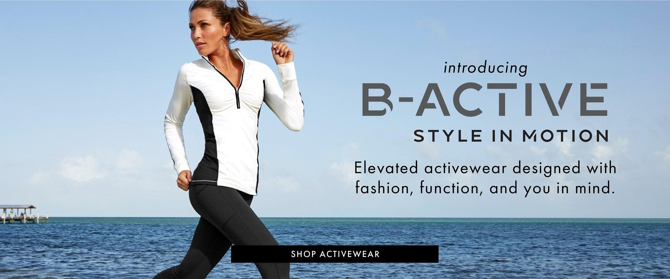 black text: introducing b-active. shop activewear. model wearing a blue and white color-block two-piece set and white sneakers.