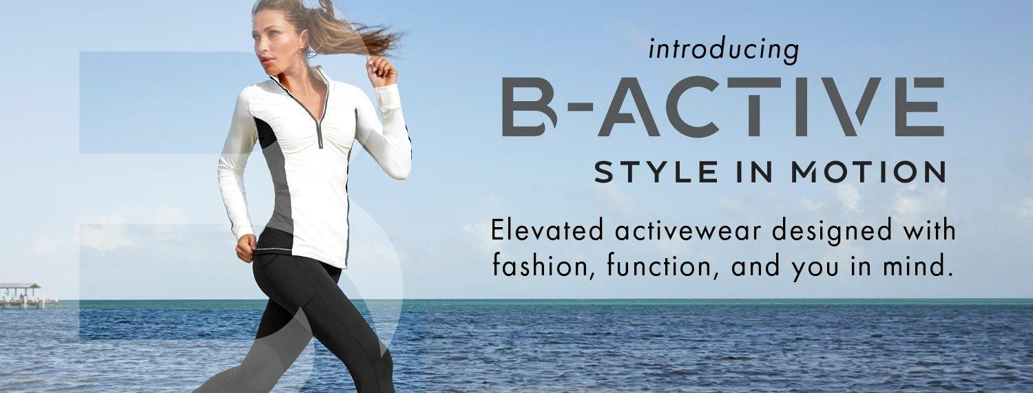 text: introducing b-active. styles that go everywhere you go. model wearing a black and white color-block long-sleeve sport top, black leggings, and sneakers.