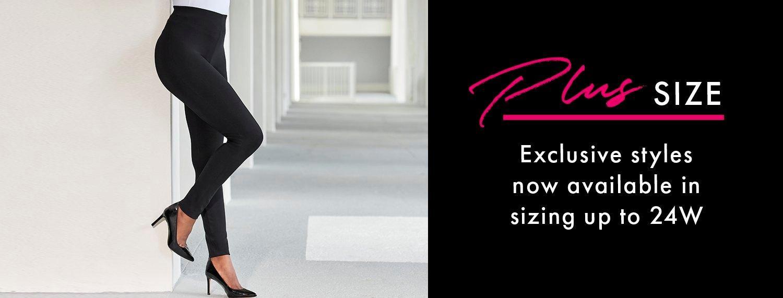 model wearing black leggings and black pumps.