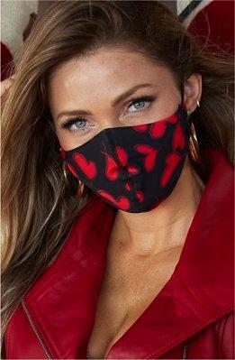 red, black, and silver sequin face masks.