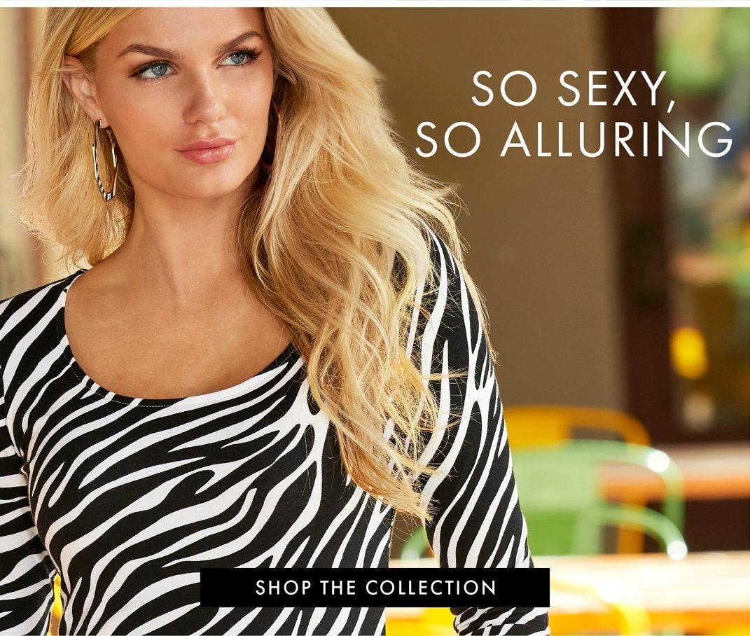 model wearing a black and white striped shirt. text: so sexy. so alluring.