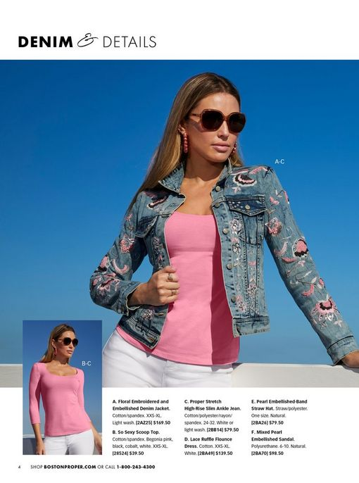 model wearing a paisley embroidered denim jacket, pink three-quarter sleeve top, white jeans, pink hoop earrings, and sunglasses.