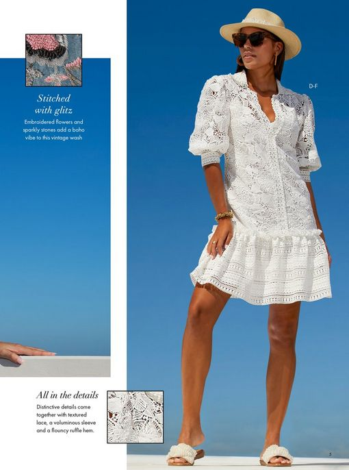 model wearing a white short sleeve lace ruffle flounce dress, pearl embellished slide sandals, sunglasses, and a pearl embellished straw hat.