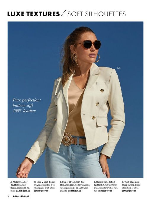 model wearing an off-white leather blazer, tan sleeveless top, jewel embellished tan belt, light wash jeans, gold hoop earrings, and sunglasses.