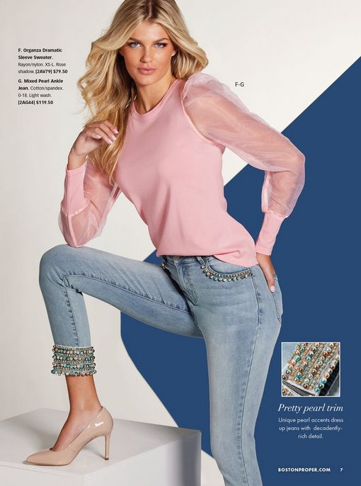 model wearing a pink illusion puff-sleeve sweater, jewel embellished light wash ankle jeans, and nude pumps.