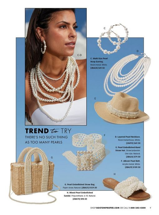 model wearing a layered pearl necklace and pearl hoop earrings. also shown: pearl embellished straw hat, pearl belt, pearl embellished slide sandals, and pearl embellished straw bag.