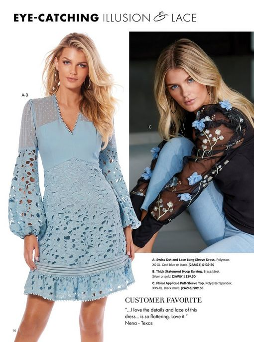 left model wearing a light blue lace and swiss dot balloon sleeve dress and silver hoop earrings. right model wearing a black sweater with floral applique puff-sleeves and light wash jeans.