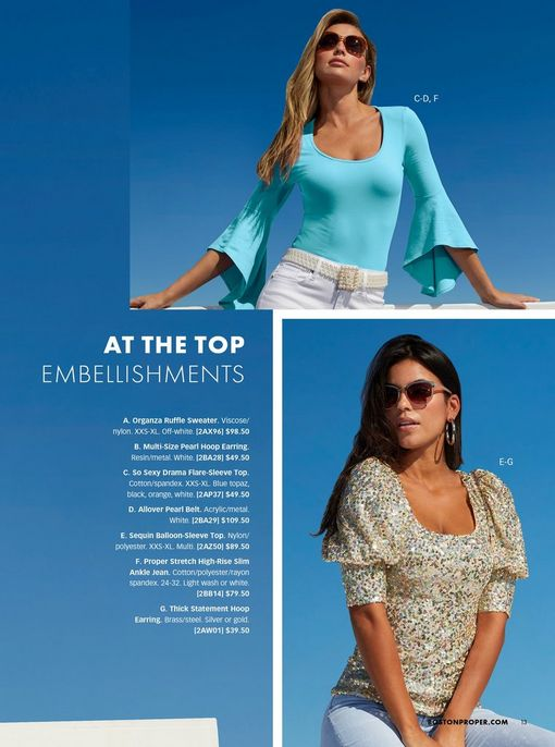 top model wearing a light blue flare sleeve top, pearl belt, whtie jeans, and sunglasses. bottom model wearing a sequin embellished balloon-sleeve top, silver hoop earrings, light wash jeans, and sunglasses.