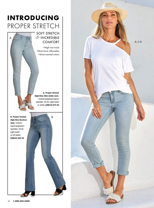 left panel showing light wash ankle jeans and medium wash straight leg jeans. right model wearing a white off-the-shoulder slub tee, light wash ankle jeans, pearl embellished slide sandals, and a straw hat.