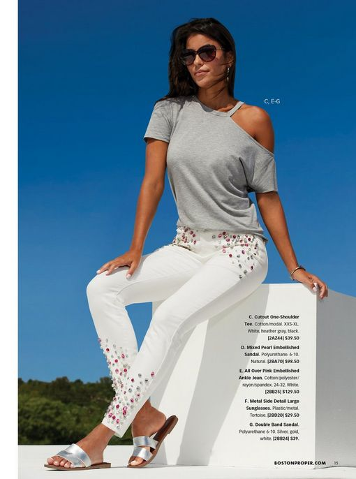 model wearing a gray off-the-shoulder slub tee, white ankle jeans with pink and silver jewel embellishments, silver double band sandals, and sunglasses.