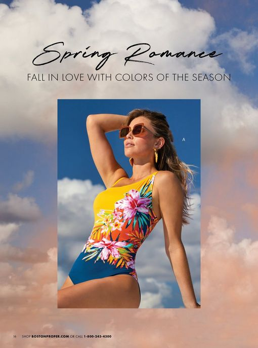 model wearing a multicolored floral print one-piece swimsuit and sunglasses.