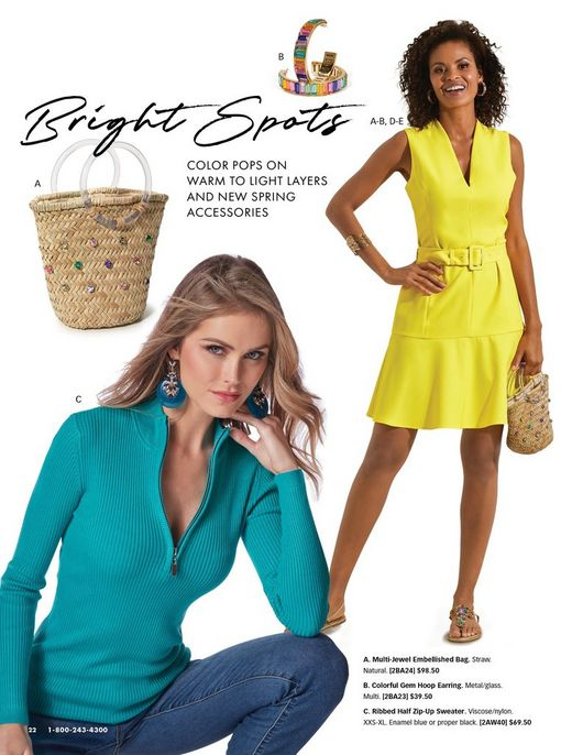 left model wearing a teal half zip ribbed sweater, jeans, and blue dangle earrings. right model wearing a bright yellow belted sleeveless flounce dress, crystal sandals, and a jewel embellished straw bucket bag. also shown: jewel embellished straw bucket bag and multicolored jewel hoop earrings.