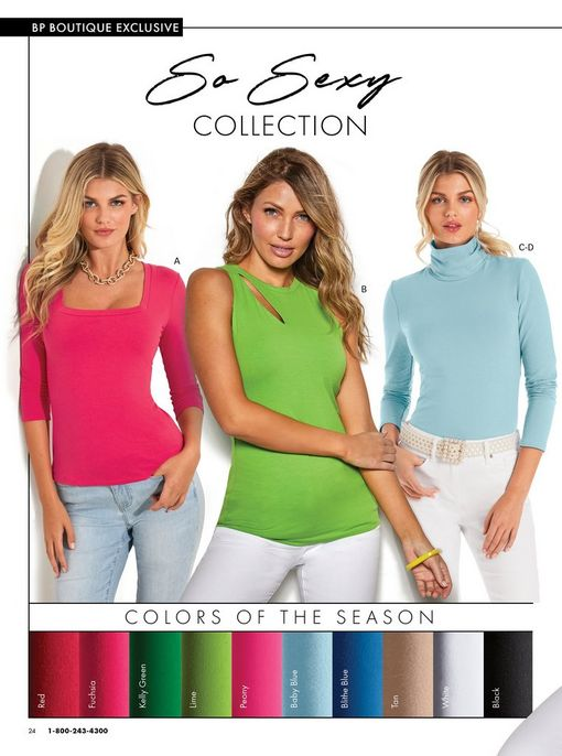 left model wearing a pink three-quarter sleeve square neck top and light wash jeans. middle model wearing a green sleeveless cutout top and white jeans. right model wearing a light blue turtleneck long sleeve top, pearl belt, and white jeans.