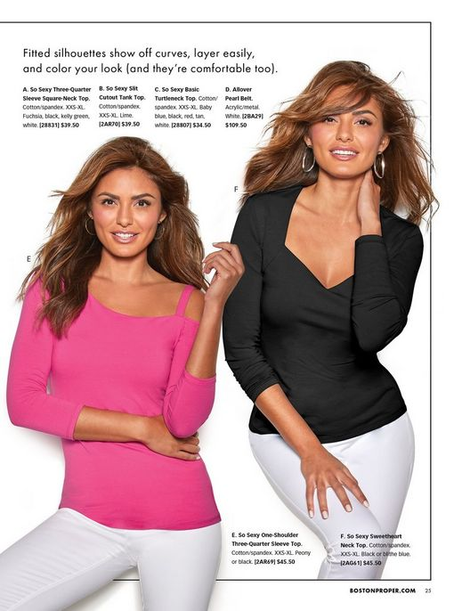 left model wearing a pink off-the-shoulder three-quarter sleeve top and white jeans. right model wearing a black three-quarter sleeve sweetheart neck top, silver hoops, and white jeans.