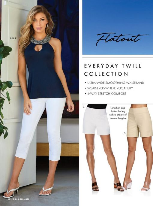 left model wearing a navy keyhole sleeveless top with a jewel embellished neckline, white crop pants, and white low heel thong sandals. right panel shows a white pair of shorts and a khaki pair of shorts.