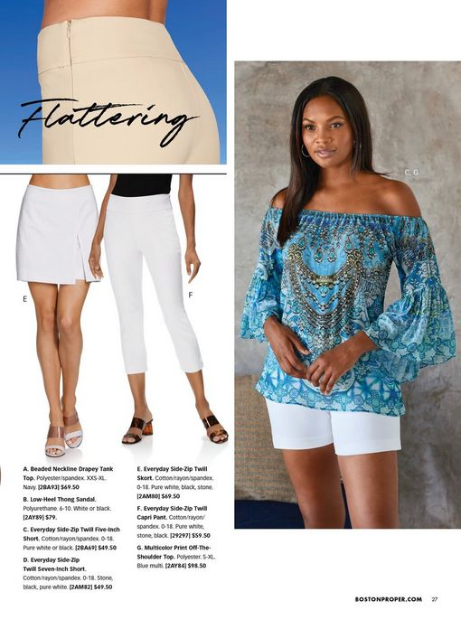left panel shows a white skort and white capri pants. right model wearing a blue printed off-the-shoulder flare-sleeve top and white shorts.