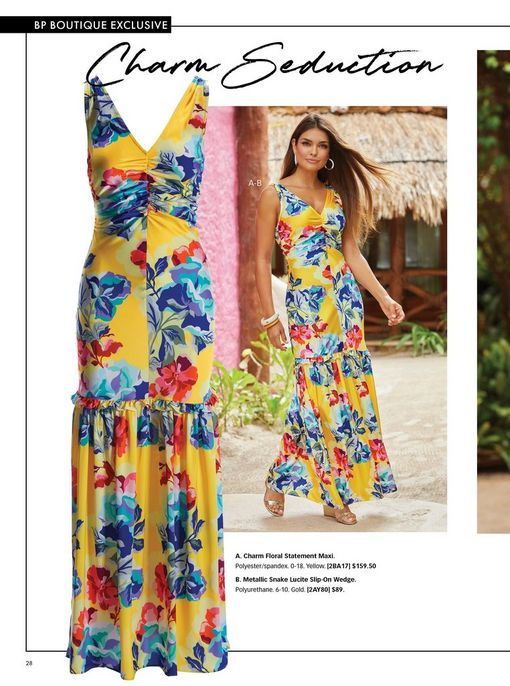 model wearing a multicolored floral print sleeveless maxi dress and silver strappy wedges.