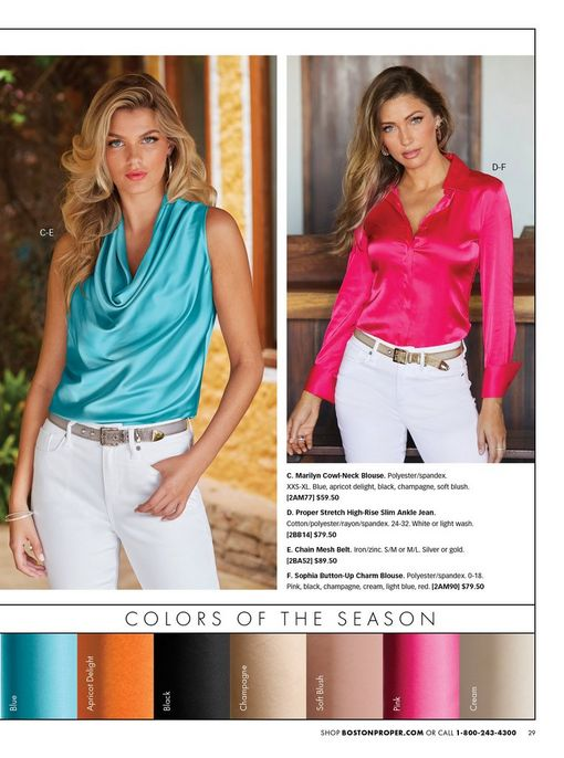 left model wearing a bright blue cowl neck sleeveless top and white jeans. right model wearing a bright pink button-down long sleeve top and white jeans.