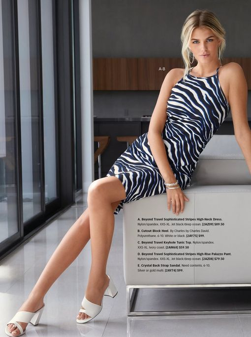 model wearing a blue and white zebra striped sleeveless dress and white strappy block heels.