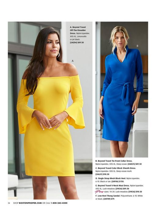 left model wearing a bright yellow off-the-shoulder flare sleeve dress and silver hoop earrings. right model wearing a blue long-sleeve tie-front collar dress.