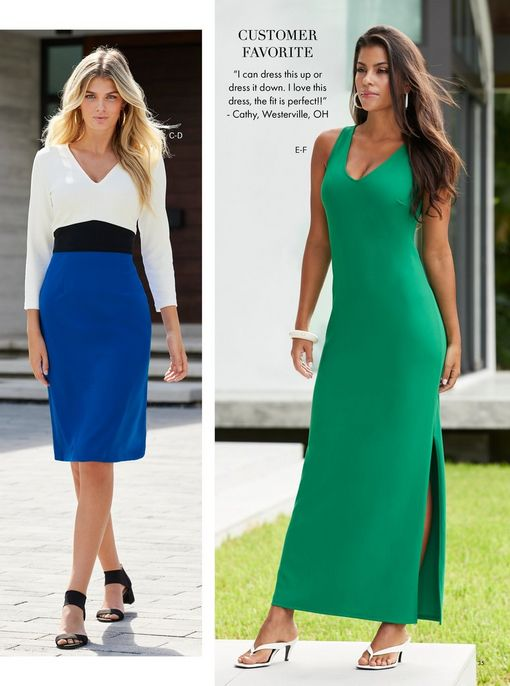 left model wearing a blue, black, and white long-sleeve color block dress, black block heels, and gold hoop earrings. right model wearing a green sleeveless v-neck maxi dress and white low-heel thong sandals.