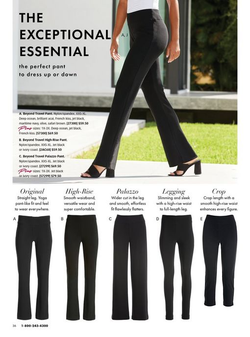 All variations of the beyond travel collection pants shown in black.