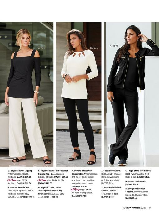 left model wearing a black long-sleeve cold-shoulder top, white palazzo pants, and black pearl embellished sandals. middle model wearing a white three-quarter sleeve cutout top, black leggings, black block heels, and silver hoop earrings. right model wearing a black two-piece set, black tank top, and black sneakers.