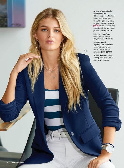 model wearing a navy blazer, a white and blue striped top, white belt, and white jeans.
