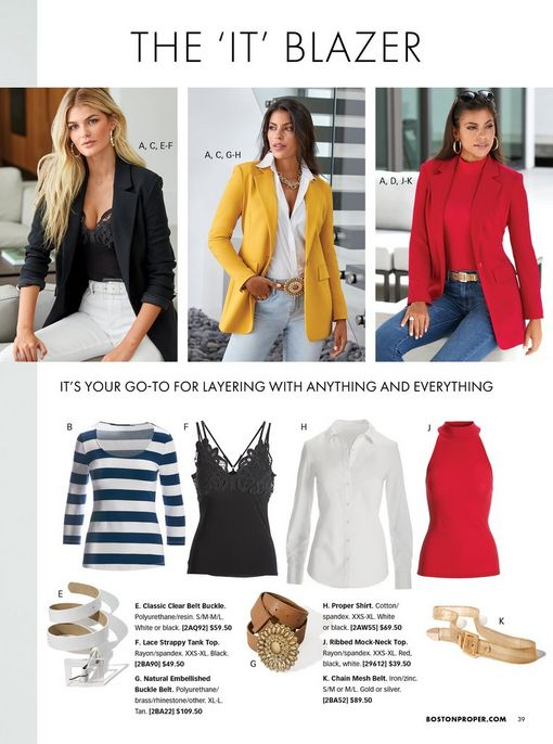 top left model wearing a black blazer, black lace tank top, and white jeans. top middle model wearing a yellow blazer, white button-down top, jewel embellished tan belt, gold chain necklace, and light wash jeans. top right model wearing a red blazer, red turtleneck top, gold belt, jeans, gold hoop earrings, and sunglasses. also shown: white and navy striped three-quarter sleeve top, black lace tank top, white button-down long-sleeve top, red sleeveless turtleneck top, white belt, jewel embellished tan belt, and a gold chain mesh belt.