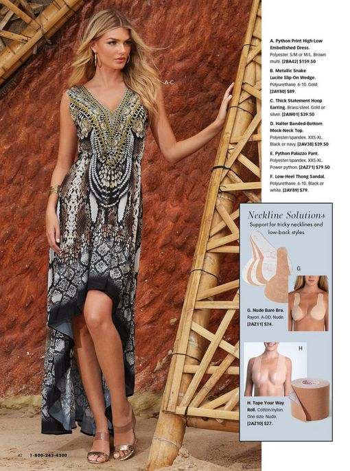 model wearing a printed neutral multicolored high-low maxi dress. also shown: solution bras for tricky necklines.