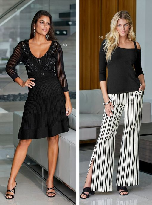 left model wearing a black long-sleeve embellished sweater dress and black strappy heels. right model wearing a black one-shoulder three-quarter sleeve top, black and white striped trouser pants, and black block heels.